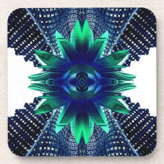 Teal And Dark Blue Dry Flower Coaster