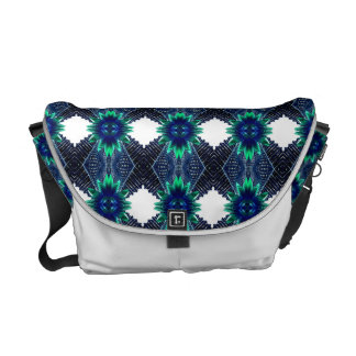 Teal And Dark Blue Dry Flower Messenger Bags