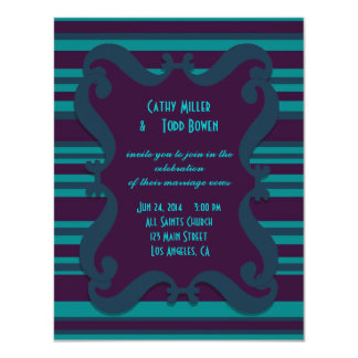Teal and Dark Blue Striped Wedding Card