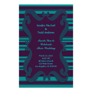 Teal and Dark Blue Striped Wedding Customized Stationery