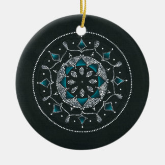 Teal and Dots Mandala Round Ceramic Ornament