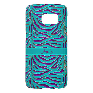 Teal and Eggplant Zebra Personalized Animal Print Samsung Galaxy S7 Case