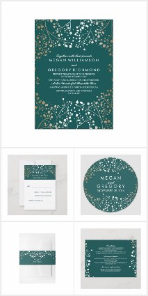 Teal and Gold Baby's Breath