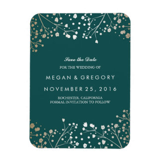 Teal and gold Baby's Breath Save the Date Magnet