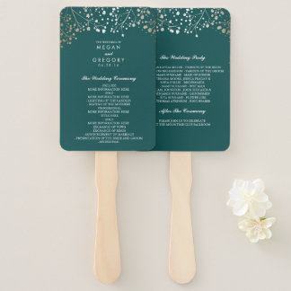 Teal and Gold | Baby's Breath Wedding Program Hand Fan