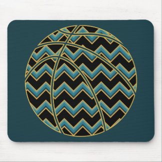 Teal and Gold Chevron Basketball Mouse Pad