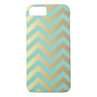 Teal and Gold Chevron iPhone 7 Case
