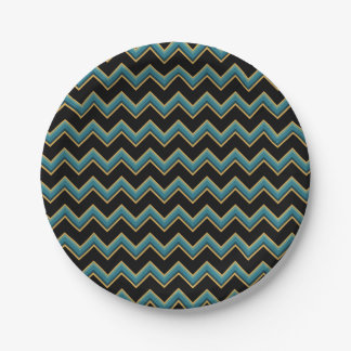 Teal and Gold Chevron Paper Plates 7 Inch Paper Plate