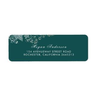 Teal and Gold Elegant Foliage Wedding Return Address Label