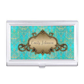 Teal and Gold Fancy Damask Business Card Holder