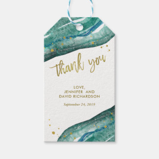 Teal and Gold Geode Wedding Favor Thank You Gift Tags