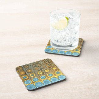 Teal and Gold Glass Blocks Coaster