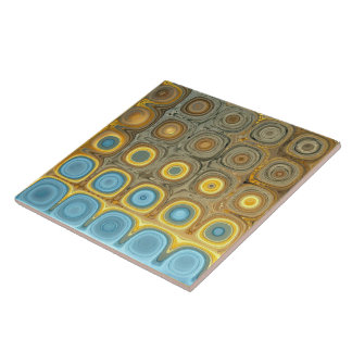 Teal and Gold Glass Blocks Tile