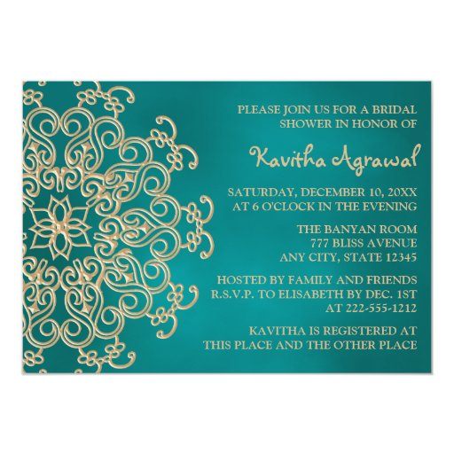 Teal And Gold Indian Inspired Bridal Shower 5x7 Paper