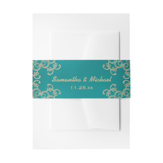 Teal and Gold Indian Inspired Invitation Belly Band