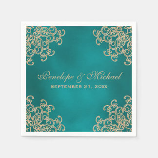 Teal and Gold Indian Style Wedding Paper Napkins