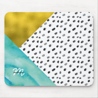 Teal and Gold Mixed Media Monogrammed Mouse Pad