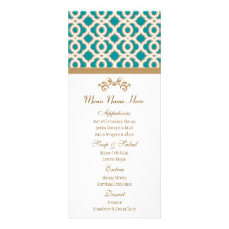 Teal and Gold Moroccan Menu