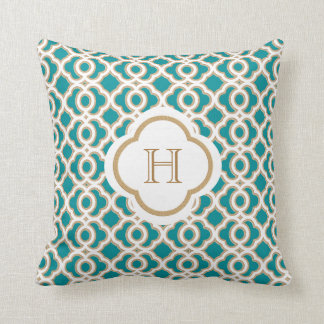 Teal and Gold Moroccan Monogram Throw Pillow