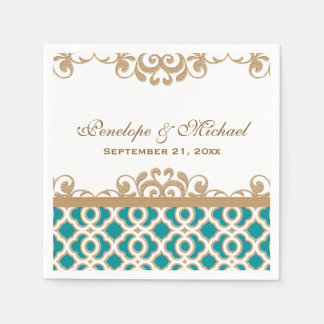 Teal and Gold Moroccan Wedding Disposable Napkin