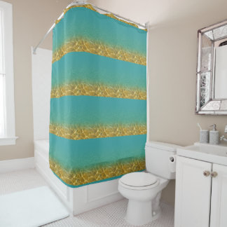 Teal and Gold Striped Water Ripple Shower Curtain