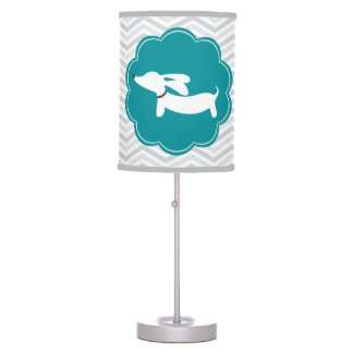 Teal and Gray Dachshund Nursery Home Office Lamp