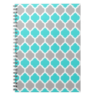 Teal and Gray Moroccan Lattice Spiral Notebook