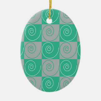 Teal and Gray Mousey Tails Ceramic Oval Ornament