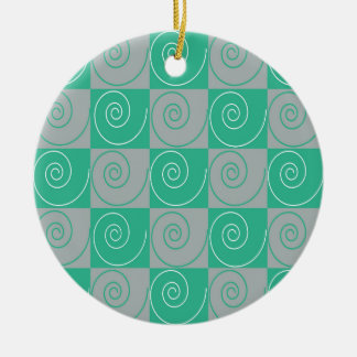 Teal and Gray Mousey Tails Round Ceramic Ornament