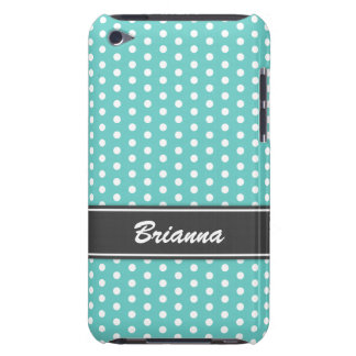 Teal and gray polka dots iPod case, aqua sea blue iPod Touch Case-Mate Case
