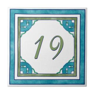 Teal and Green Big House Number Ceramic Tile