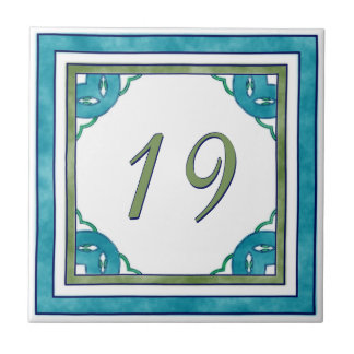 Teal and Green Big House Number Tile