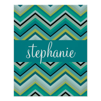 Teal and Green Huge Chevron Pattern Custom Name Poster