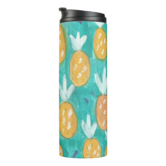 Teal and Green Pineapples Print Tumbler