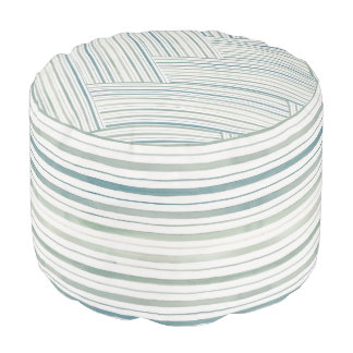 Teal and Green Striped Pouf