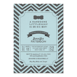 Teal and Grey Chevron Bow tie Baby Shower Invite