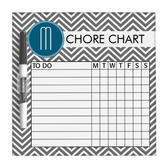 Teal and Grey Chevron Pattern Chore Chart Dry Erase Board