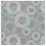 Teal and Grey Dots Circles Abstract Pattern Fabric