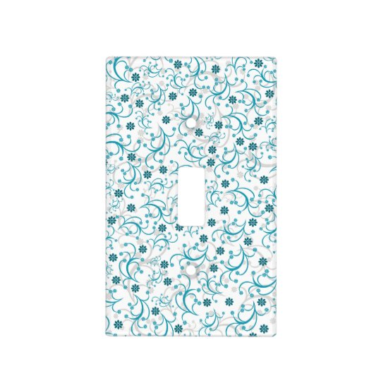 Teal And Grey Floral Light Switch Cover