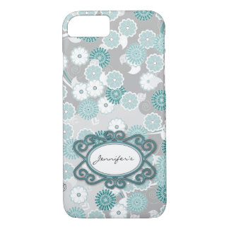 Teal and Grey Floral Personalzed iPhone 7 Case