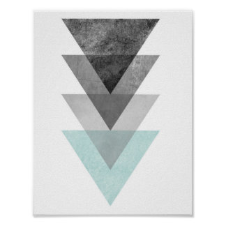 Teal and Grey Triangle Geometric Print