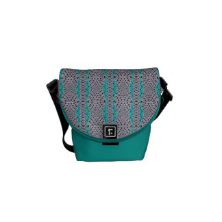 Teal and Grey Weave Textured Stripe Design Messenger Bag