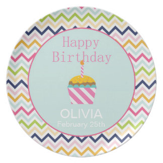 Teal and Hot Pink Cupcake Custom Birthday Plate