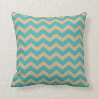 Teal and Khaki Chevrons Throw Pillow