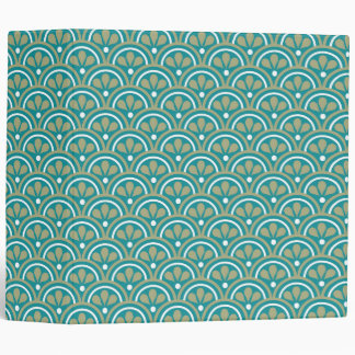 Teal And Khaki  Floral Art Deco Pattern 3 Ring Binder