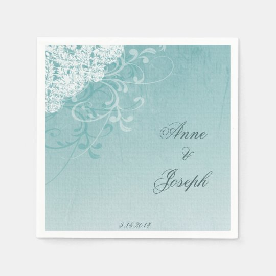 Teal and Lace Napkins Disposable Napkin