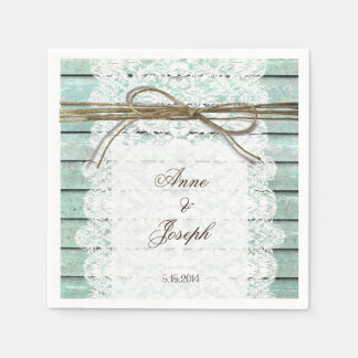 Teal and Lace Napkins Paper Napkins