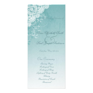 Teal and Lace wedding programs Custom Rack Card