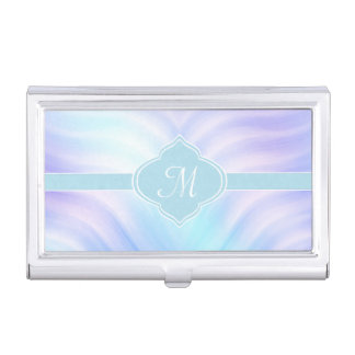 Teal and Lavender Swirls Monogram Business Card Holder