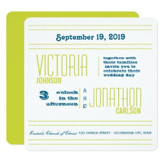 Teal and Lime Modern Typography Wedding Card